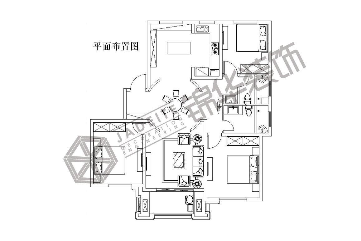 宝华--贵气装修-三室两厅-欧式古典