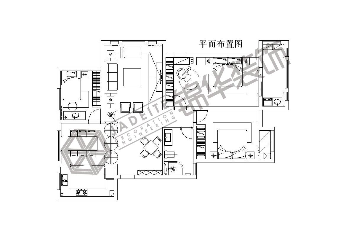 威尼斯小镇--晚秋装修-三室两厅-新中式