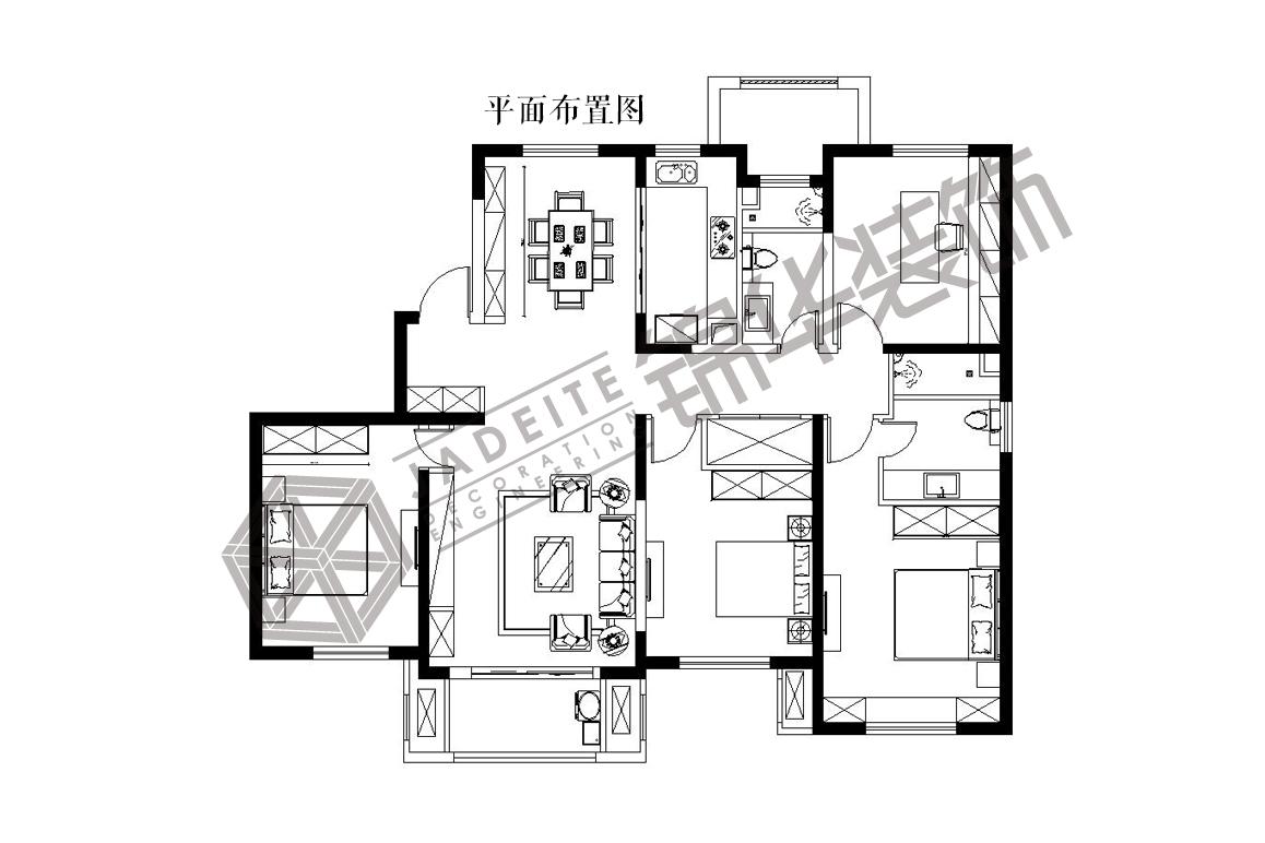 中海世纪公馆--跳跃装修-三室两厅-美式田园