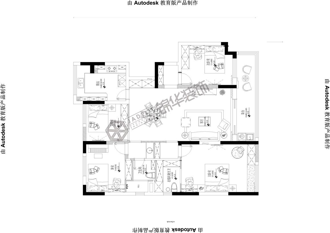 中海·凯旋门--乐享生活装修-三室两厅-简欧