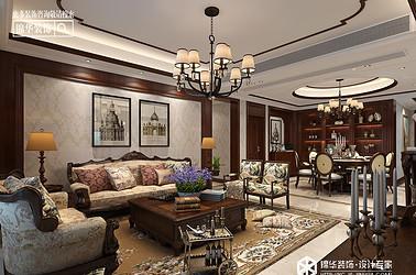 美式风格-响水·大湖富邦-三室两厅-126㎡装修实景效果图