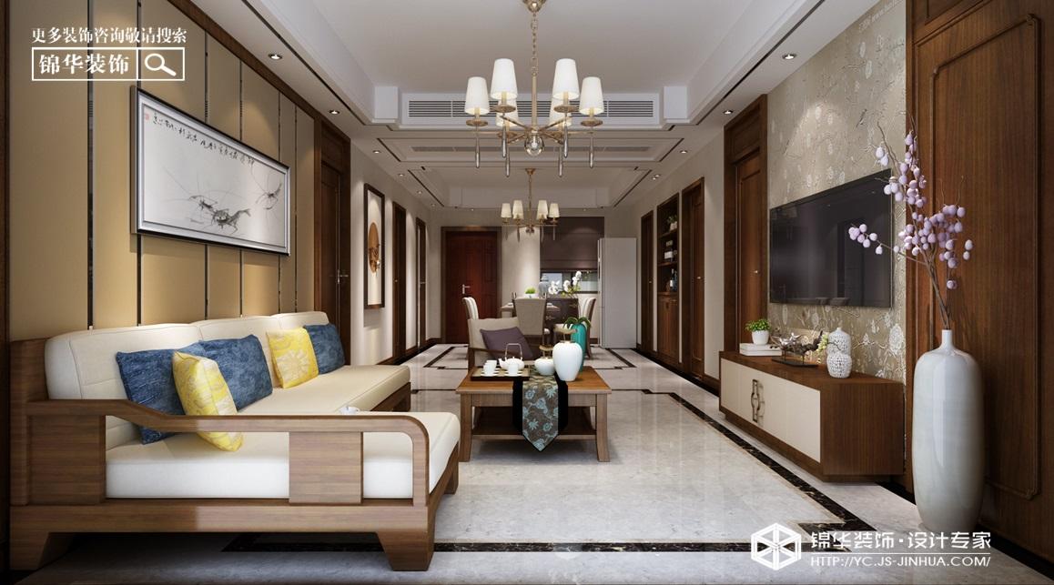 新中式风格-建湖·御景城-三室两厅-128㎡装修实景效果图