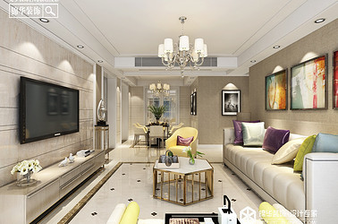 现代简约-圣华雍翠园-三室两厅-136㎡装修实景效果图