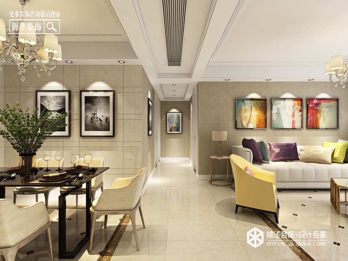 现代简约-圣华雍翠园-三室两厅-136㎡装修实景效果图装修-三室两厅-现代简约