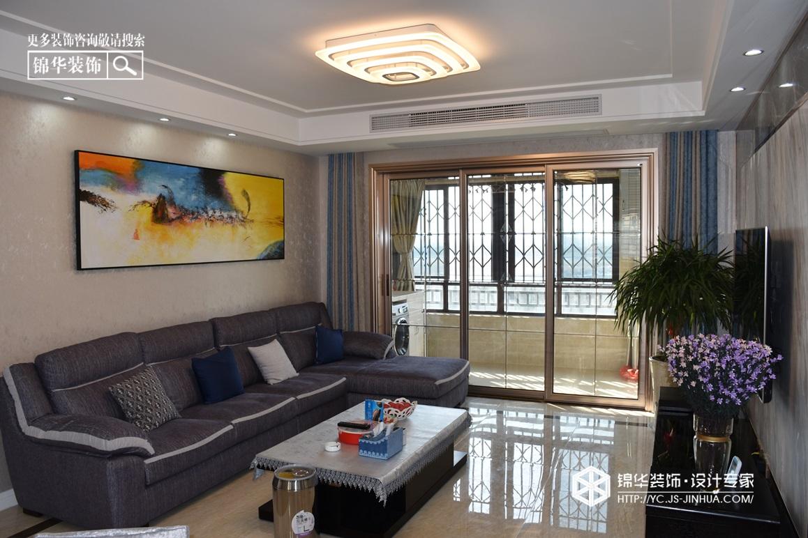 现代风格-建湖雨润星宇华府-三室两厅-140㎡装修实景效果图