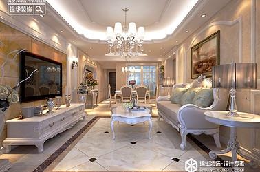 简欧风格-五洲国际-三室两厅-130㎡装修实景效果图