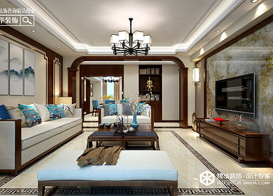 新中式风格-紫薇花园-三室两厅-140㎡装修实景效果图