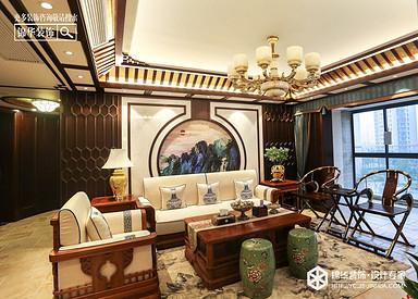 新中式风格-凤鸣缇香-大平层-180㎡装修实景效果图