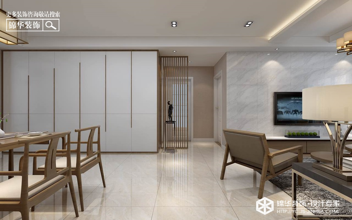 -简中风格-文泽府邸-三室两厅120㎡装修实景效果图装修-三室两厅-新中式