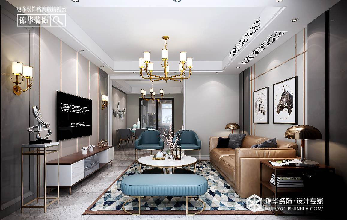 现代风格-德惠尚书房-三室两厅-127㎡装修实景效果图
