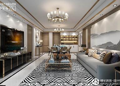 新中式风格-文泽府邸-三室一厅-126㎡装修实景效果图