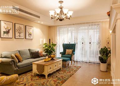 小美风格-欧堡利亚臻园-三室两厅-150㎡装修实景效果图