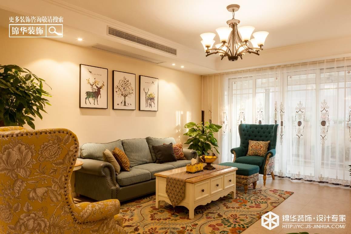 小美风格-欧堡利亚臻园-三室两厅-150㎡装修实景效果图装修-三室两厅-简美