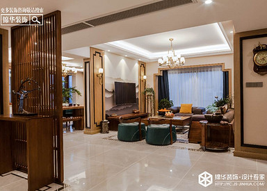 新中式风格-香苑西园-别墅-300㎡装修实景效果图