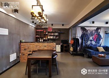 工业风-奥体玫瑰园-两室一厅100㎡装修实景效果图