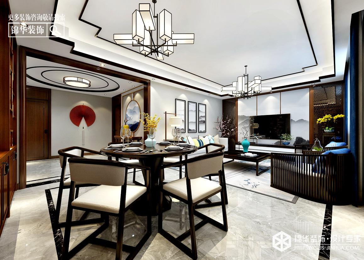 现代新中-金域华府-三室两厅-115㎡装修实景效果图装修-三室两厅-新中式