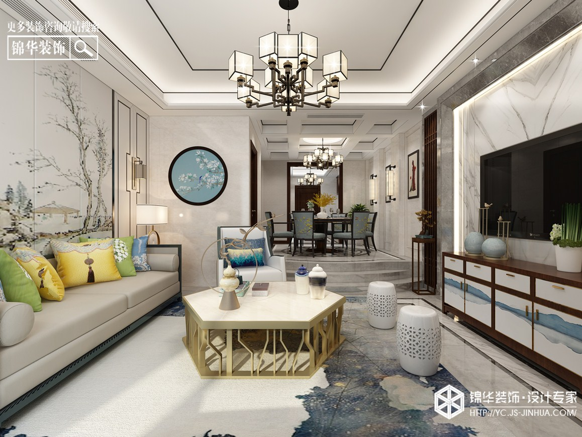 新中式风格-伯乐达城市御墅-别墅-240㎡装修实景效果图