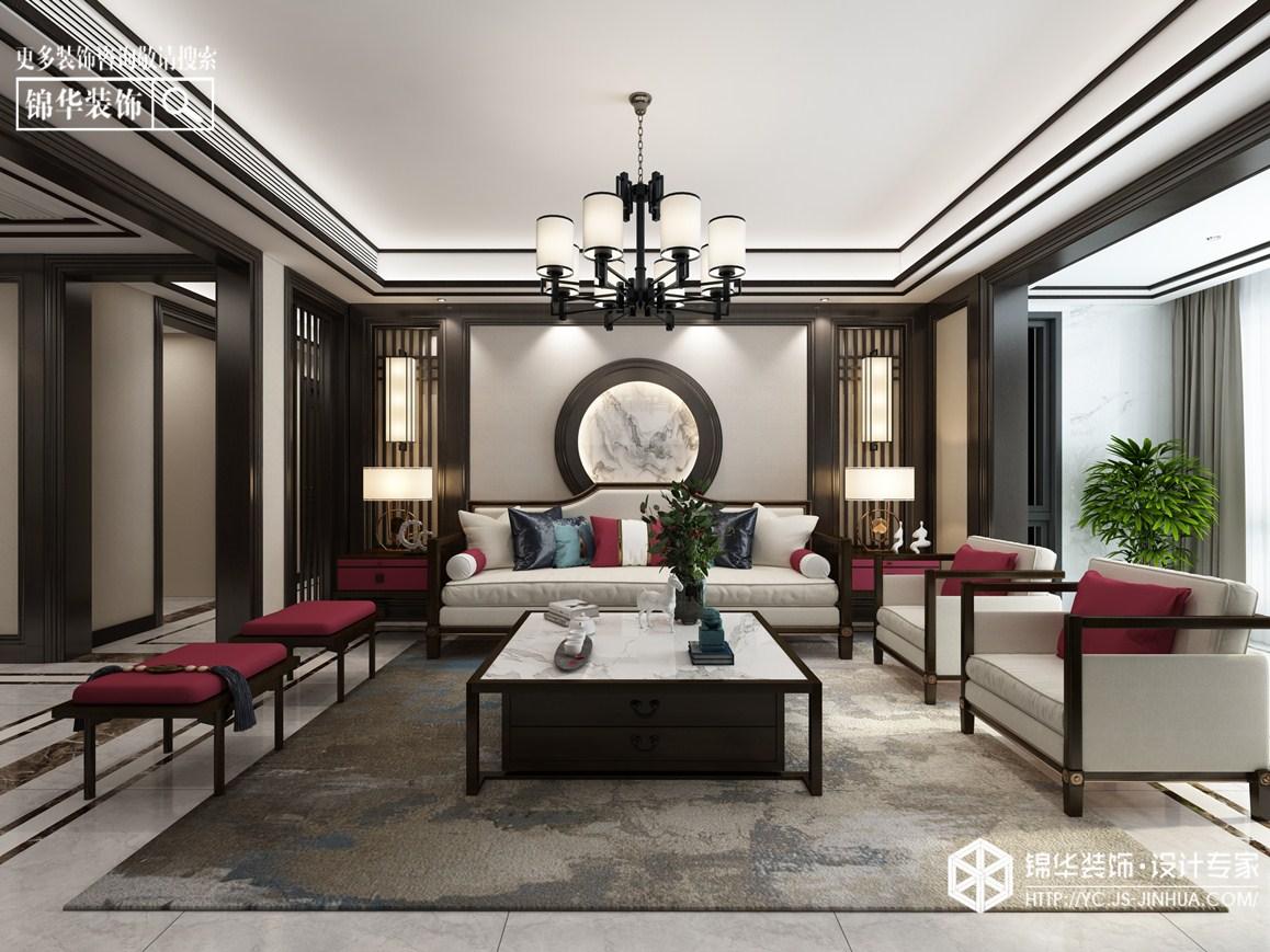 新中式风格-凤鸣缇香--三室两厅-169㎡装修实景效果图