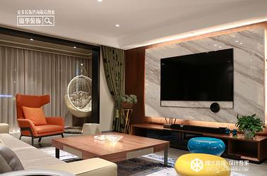 现代风格—龙泊湾—平层160㎡装修实景效果图