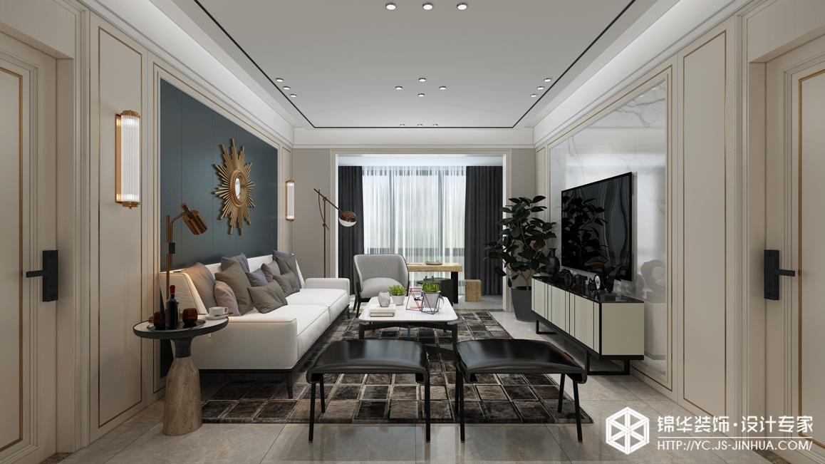 现代轻奢-奥体玫瑰园-三室两厅-136㎡装修实景效果图