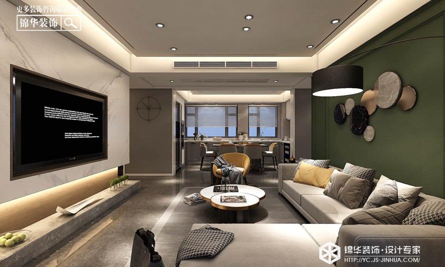 现代简约-金辉城 优步水岸 -三室两厅-140㎡装修实景效果图