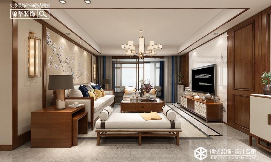 新中式风格-日月星城 -平层-190㎡装修实景效果图装修-三室两厅-新中式