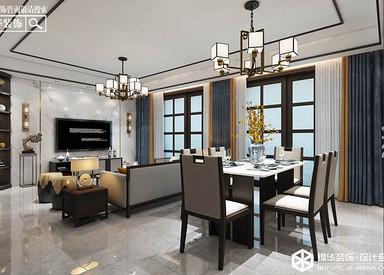 新中式风格-中海万景园- 三室两厅-140㎡装修实景效果图