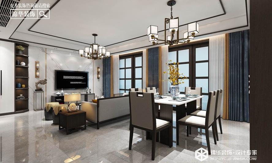 新中式风格-中海万景园- 三室两厅-140㎡装修实景效果图装修-三室两厅-新中式