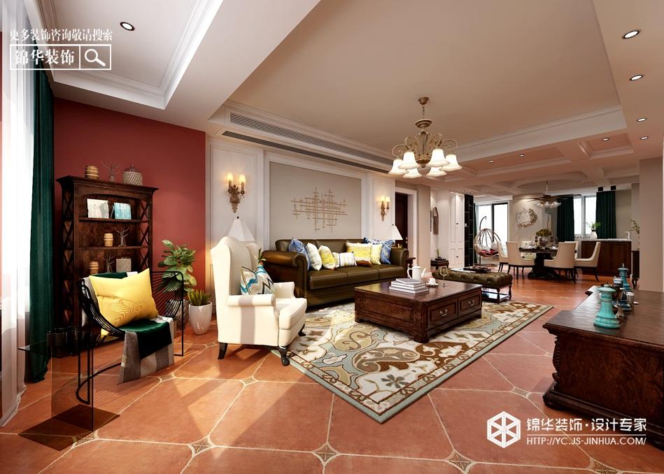 美式风格-恒隆花园-三室两厅-120㎡装修实景效果图装修-三室两厅-简美