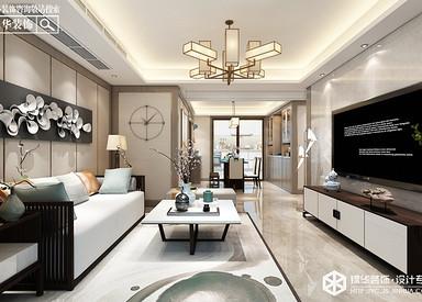 新中式风格-德惠尚书房-三室两厅-145㎡装修实景效果图