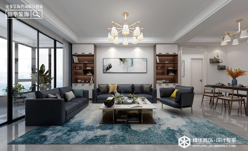 现代简约-万达大公馆-三室两厅-145㎡装修实景效果图装修-三室两厅-现代简约