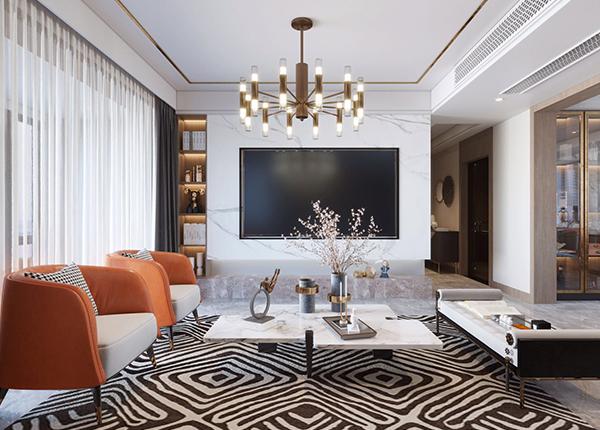 现代轻奢-中南熙悦-三室两厅-180㎡-装修实景效果图