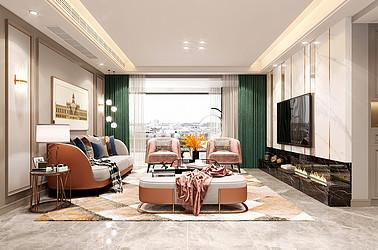 现代轻奢风格-碧桂园珺悦府-三室两厅-135㎡装修实景效果图
