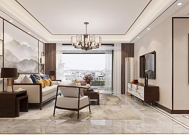 新中式风格-碧桂园-三室两厅-140㎡装修实景效果图