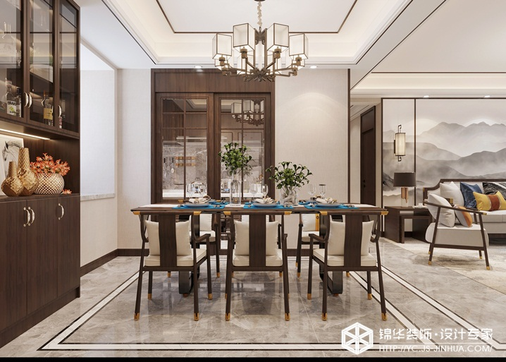 新中式风格-碧桂园-三室两厅-140㎡装修实景效果图装修-三室两厅-新中式