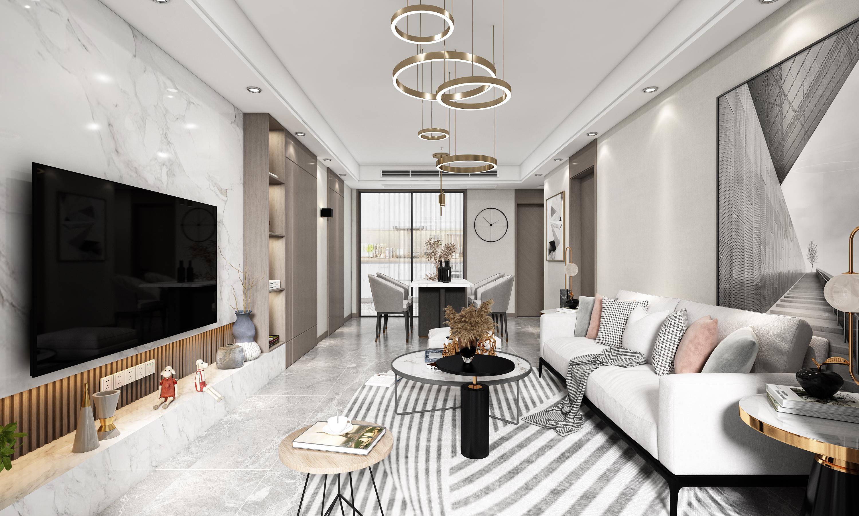 现代轻奢-保利紫荆公馆-三室两厅-109㎡装修实景效果图