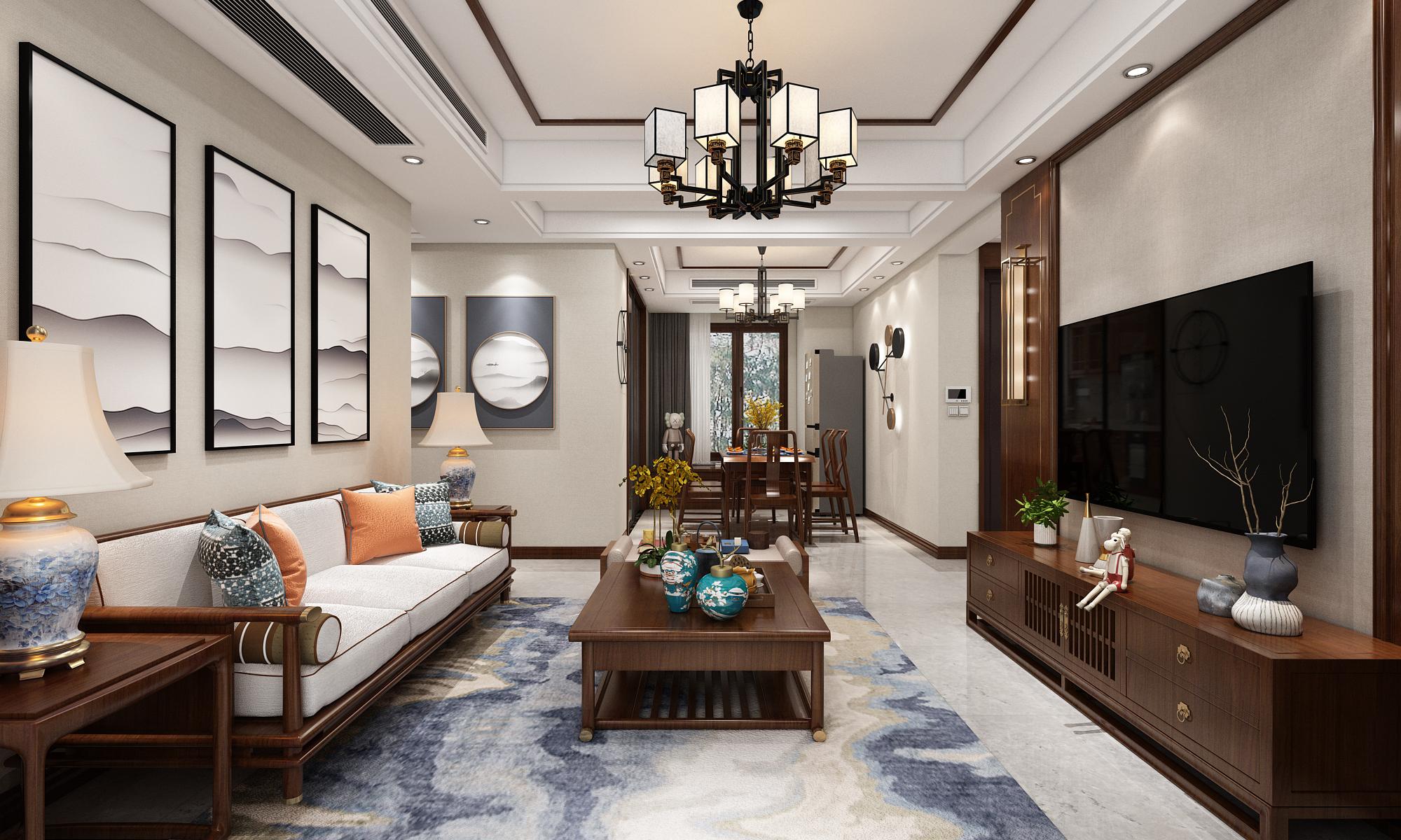 新中式风格-保利紫荆公馆-四室两厅-129㎡装修实景效果图