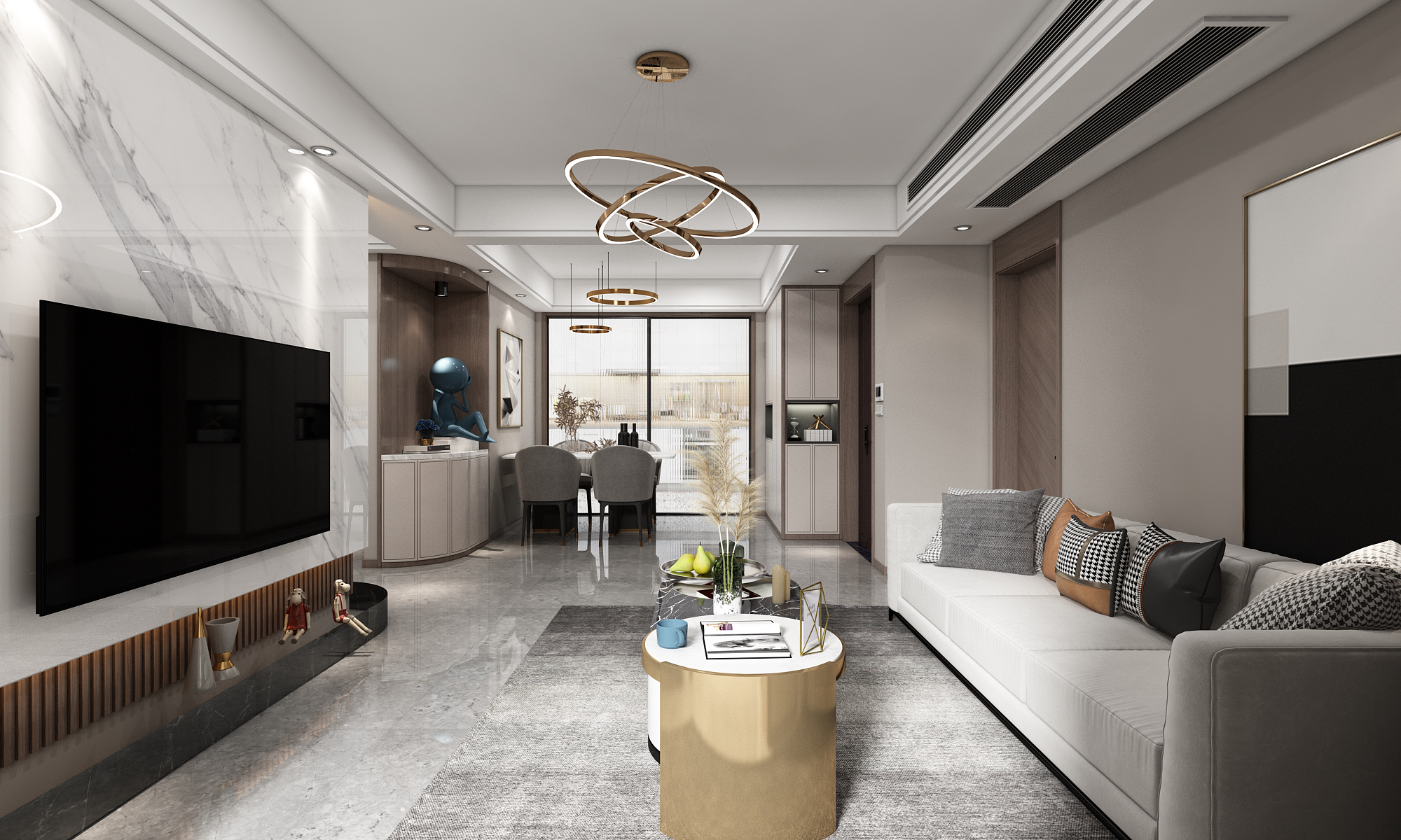 现代轻奢-翡翠之光-四室两厅-136㎡装修实景效果图