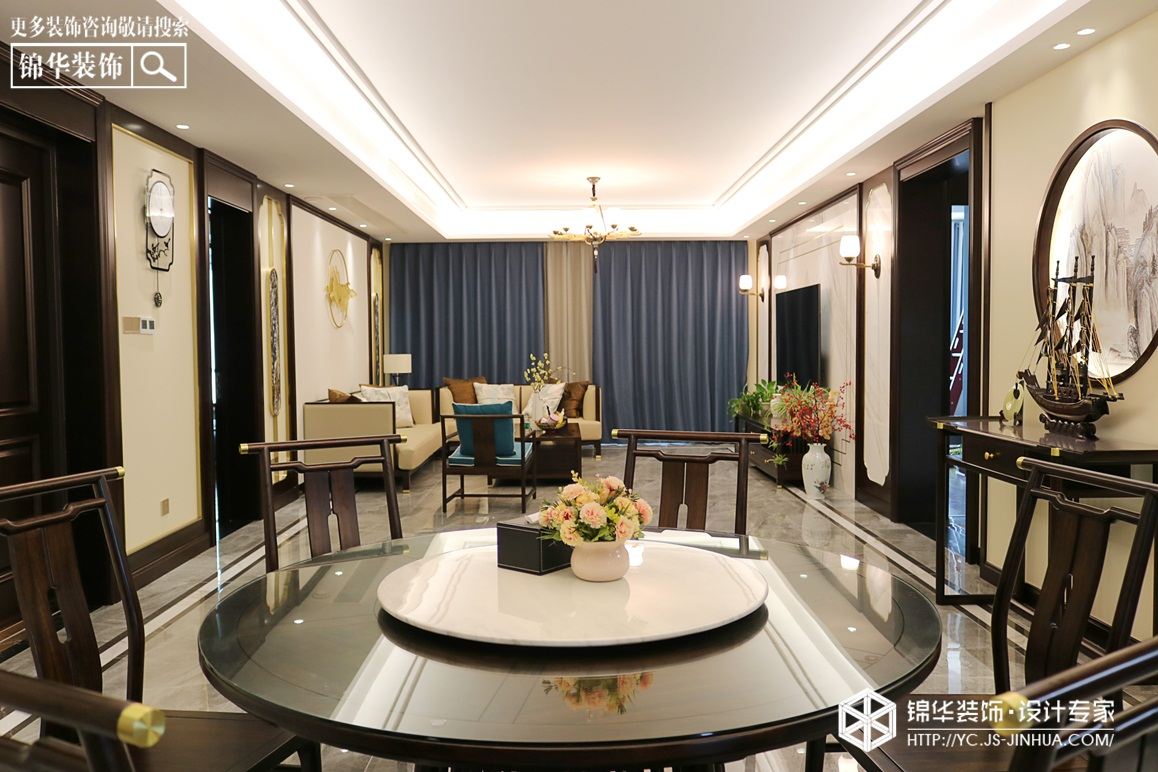 新中式-龙泊湾-四室两厅-230㎡装修实景效果图装修-大户型-新中式