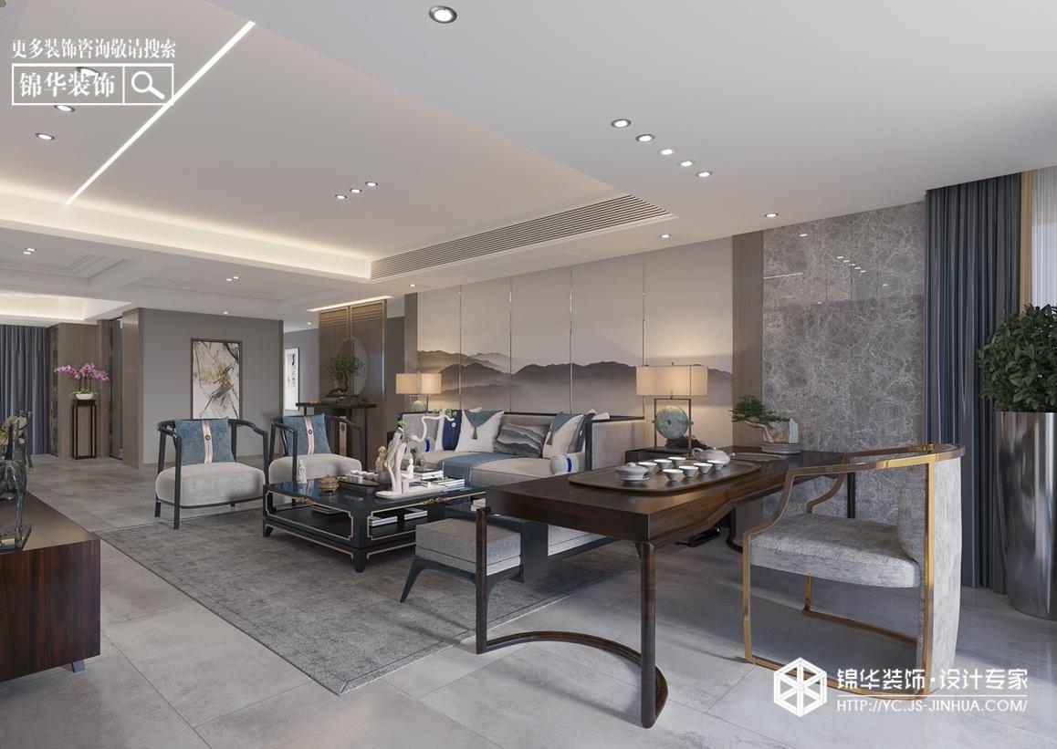 新中式风格-橡树湾-别墅-260㎡装修实景效果图