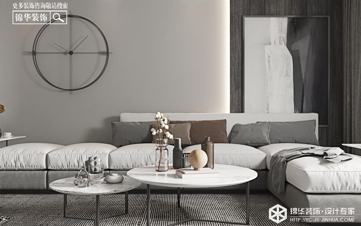 现代黑白灰-城东宝龙广场-三室两厅-115㎡装修实景效果图