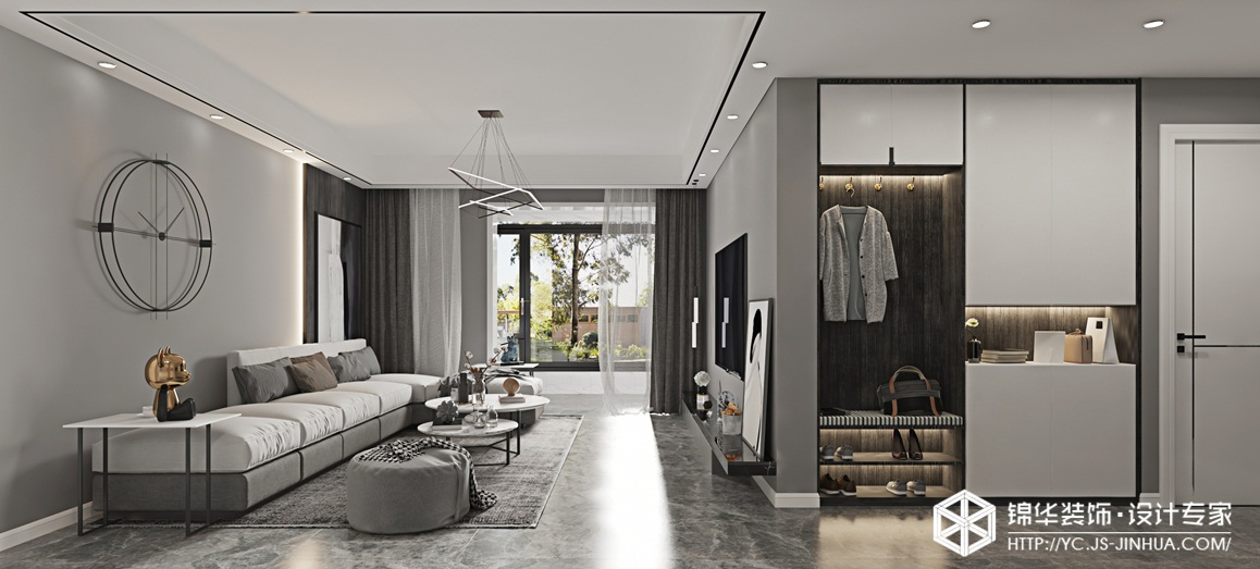 现代黑白灰-城东宝龙广场-三室两厅-115㎡装修实景效果图装修-三室两厅-现代简约