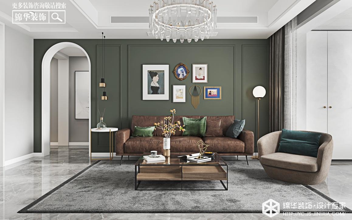轻奢美式-锦盛豪庭-三室两厅-124㎡装修实景效果图