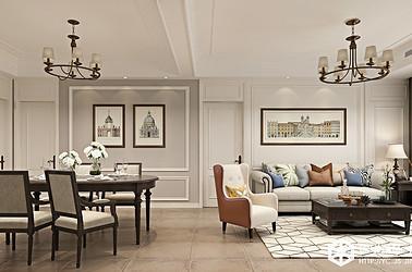 美式-日月星城-三室两厅-130㎡装修实景效果图