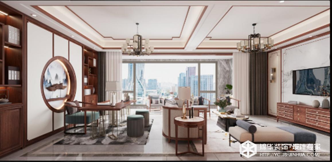 新中式-奥体玫瑰园-四室两厅-170㎡装修实景效果图