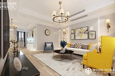 美式-悦珑湾-三室两厅-140㎡装修实景效果图