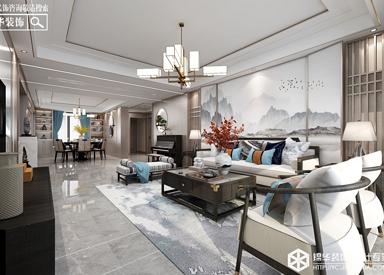 新中式-天鹅丽都-四室两厅-198㎡装修实景效果图
