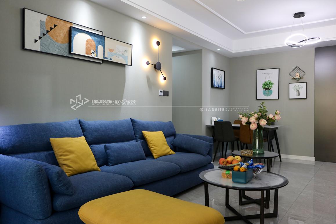 现代简约-绿地滨湖城-三室两厅-116㎡装修实景效果图