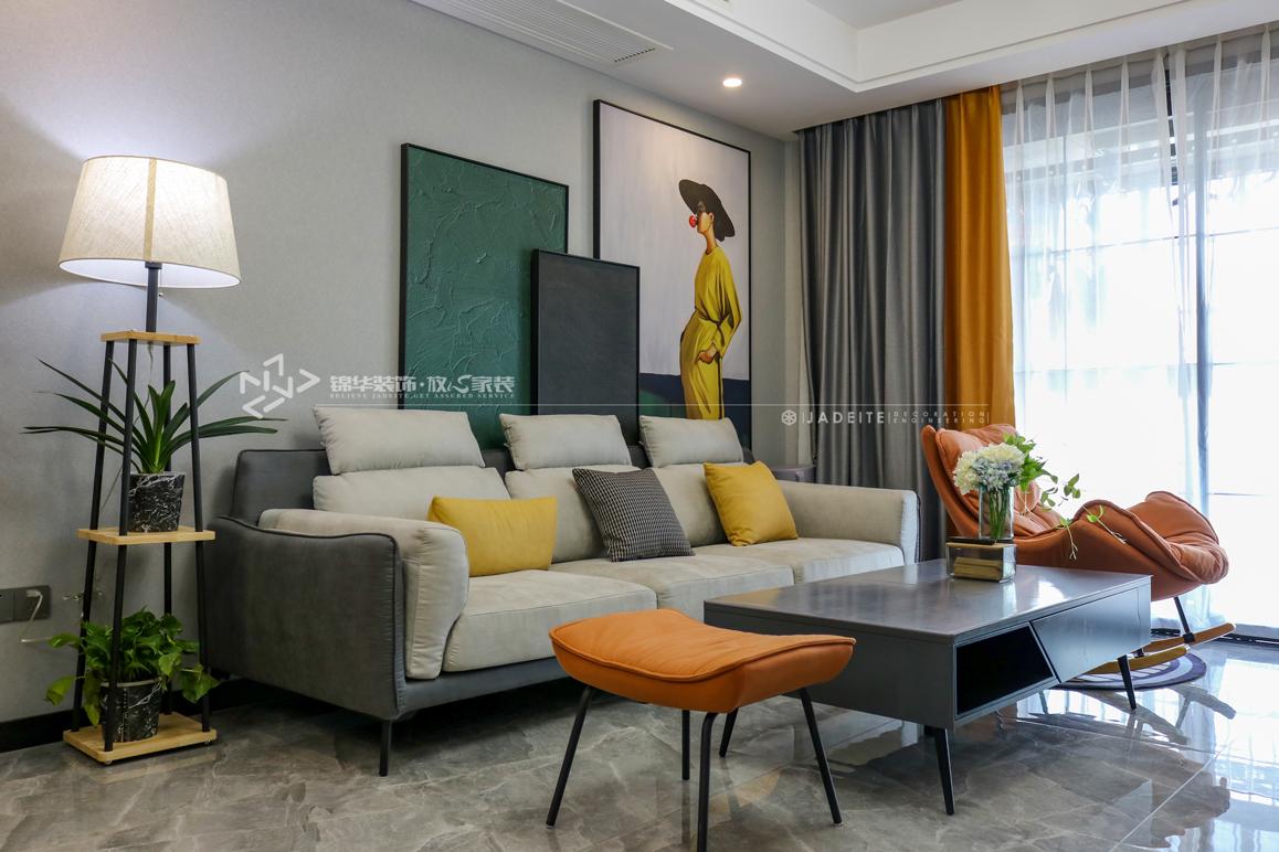 现代简约-绿地滨湖城-三室两厅-108㎡装修实景效果图