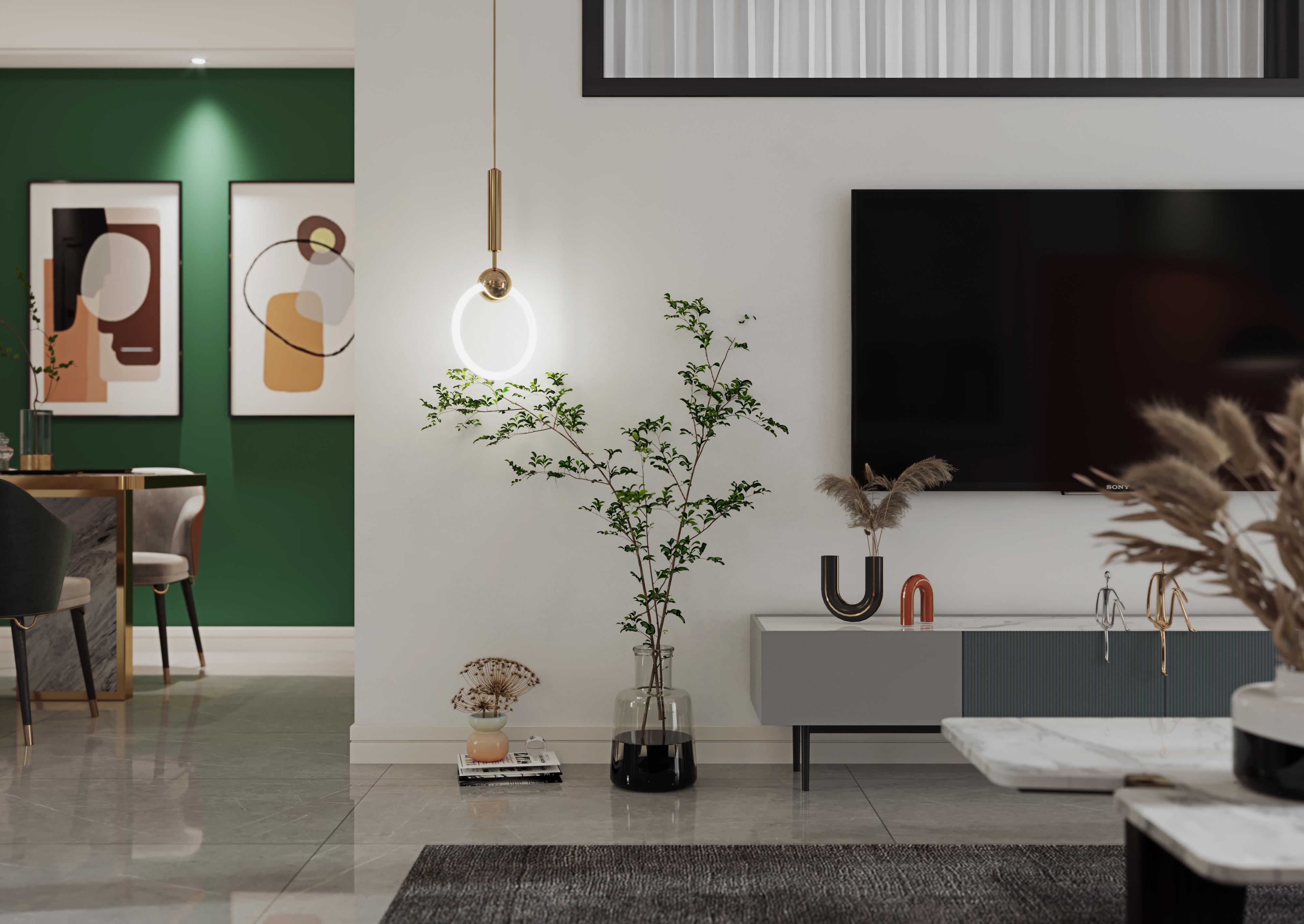 现代简约-金融城-两室一厅-90㎡装修实景效果图